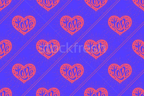 Stockfoto: Hart · liefde · Blauw · inpakpapier · papier