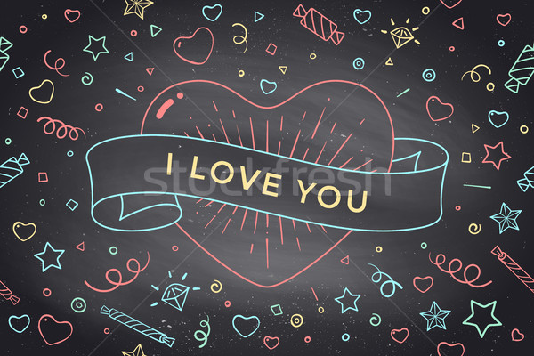 Vintage ribbon with message I Love You and red heart Stock photo © FoxysGraphic