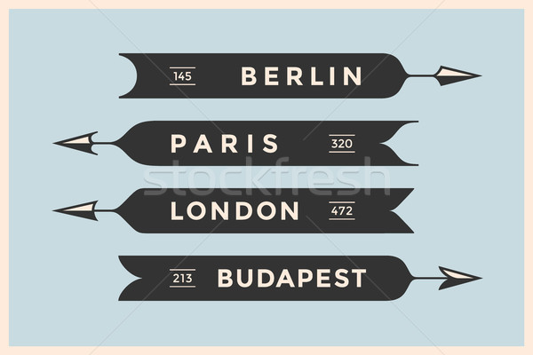 Set of vintage arrows and banners with names different cities Stock photo © FoxysGraphic