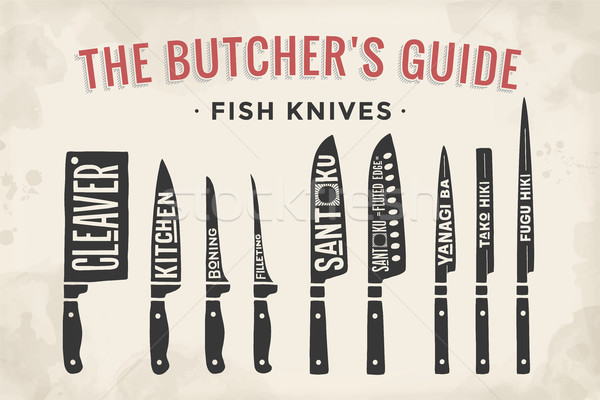 FIsh cutting knives set. Poster Butcher diagram and scheme Stock photo © FoxysGraphic