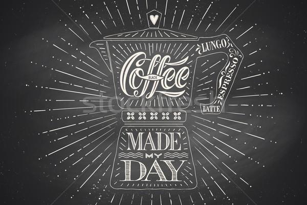 Stockfoto: Poster · koffie · pot · mijn · dag