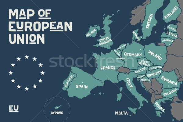 Poster kaart europese unie land print Stockfoto © FoxysGraphic