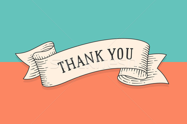 Greeting card with ribbon and phrase Thank you Stock photo © FoxysGraphic