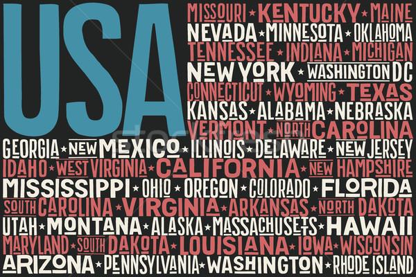 Egyesült Államok Amerika zászló poszter fővárosok nyomtatott Stock fotó © FoxysGraphic
