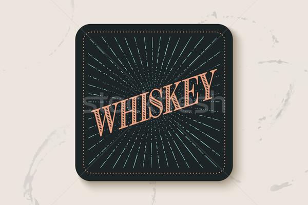 Ital poháralátét üveg felirat whiskey fény Stock fotó © FoxysGraphic