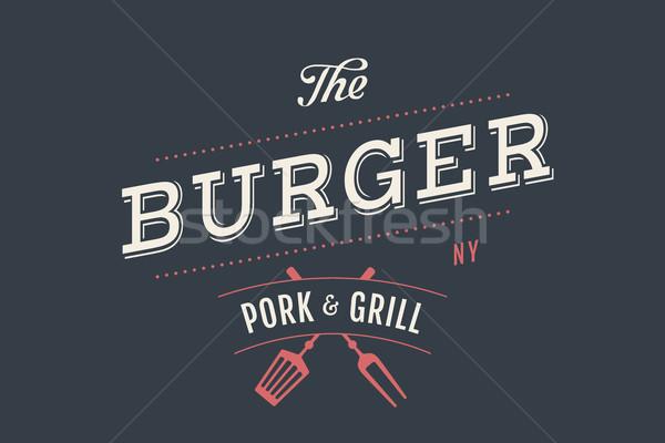 Címke hamburger bár grill szimbólumok villa Stock fotó © FoxysGraphic