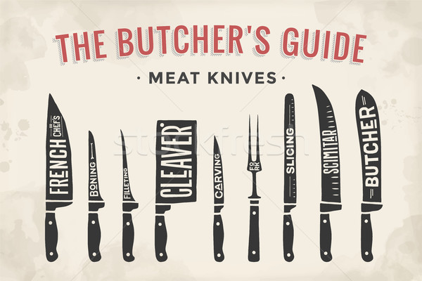 Meat cutting knives set. Poster Butcher diagram and scheme Stock photo © FoxysGraphic