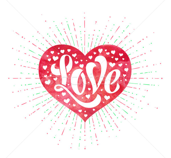 Stok fotoğraf: El · sevmek · kırmızı · suluboya · kalp · tebrik · kartı