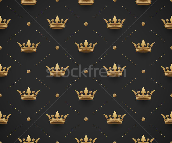 Seamless gold pattern with king crowns on a dark black background. Vector Illustration. Stock photo © FoxysGraphic