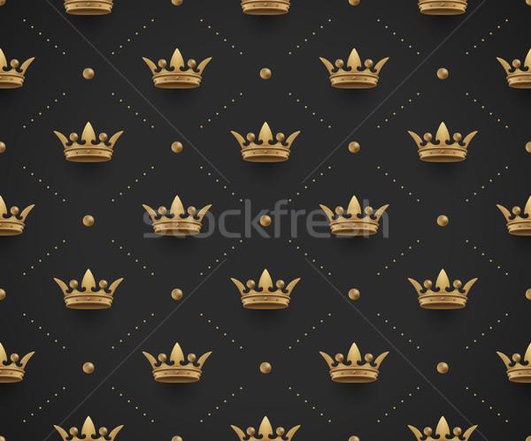 Sem costura ouro padrão rei escuro preto Foto stock © FoxysGraphic