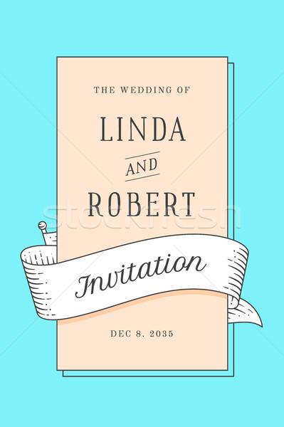 Jahrgang Hochzeitseinladung Ehe Gruß post Karte Stock foto © FoxysGraphic