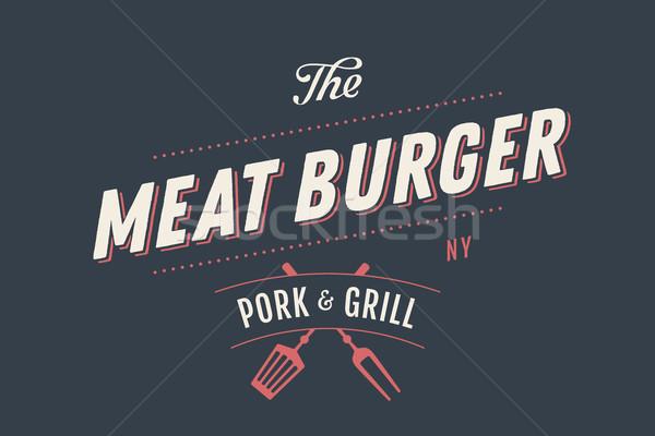 Etiqueta plantilla carne Burger parrilla símbolos Foto stock © FoxysGraphic