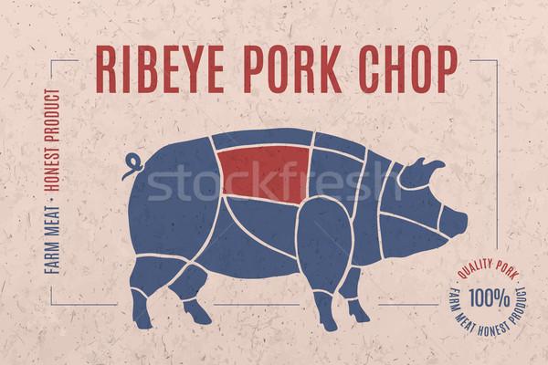 Foto d'archivio: Etichetta · carne · di · maiale · bistecca · carne · taglio · testo
