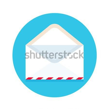 Icon Open nieuwe mail envelop witte Stockfoto © FoxysGraphic