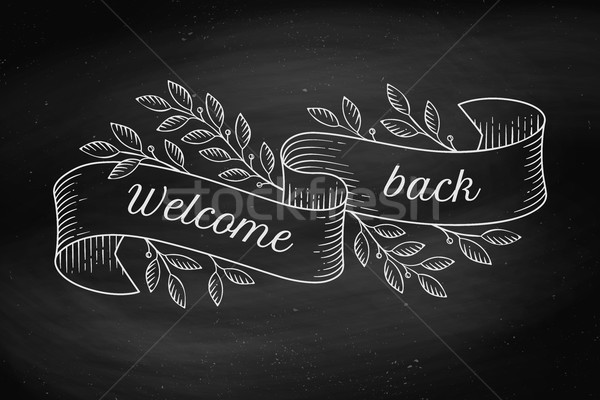 Greeting card with inscription Welcome back in engraving style Stock photo © FoxysGraphic