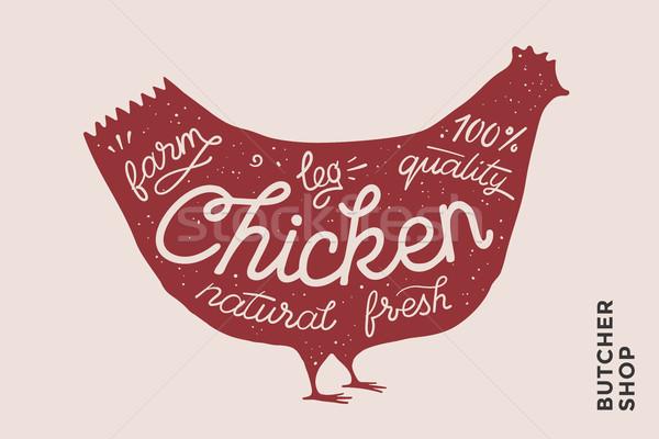 トレンディー ポスター 赤 鶏 シルエット 実例 ストックフォト © FoxysGraphic