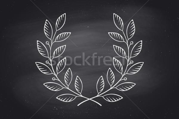 Defne çelenk ikon yalıtılmış siyah kara tahta Stok fotoğraf © FoxysGraphic