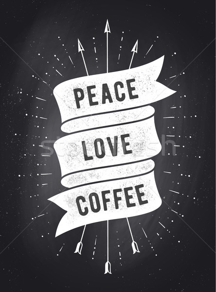 Stock photo: Peace, Love, Coffee. Vintage ribbon banner