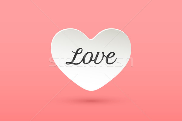 White paper heart with lettering Love Stock photo © FoxysGraphic