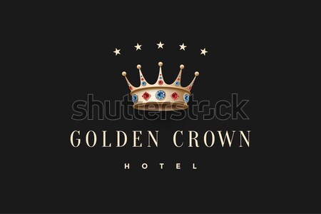 Logo oro re corona diamante Foto d'archivio © FoxysGraphic