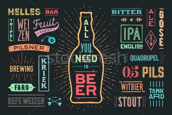Cartaz cerveja bandeira texto colorido Foto stock © FoxysGraphic