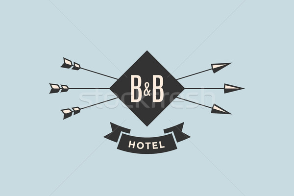 Emblem of Hotel with arrows Stock photo © FoxysGraphic