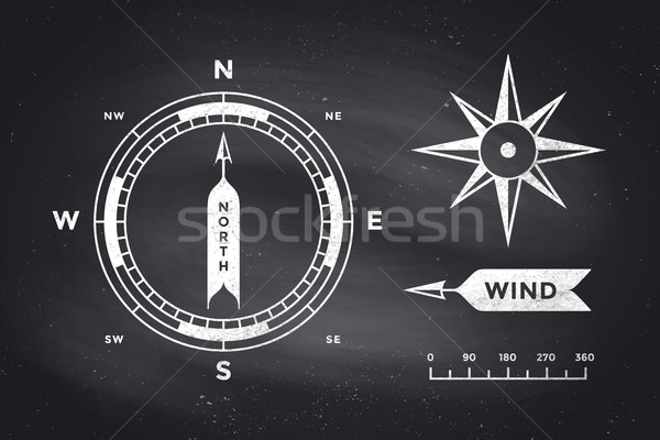 Rose Wind and Compass. Set of vintage arrows for Navigation Stock photo © FoxysGraphic