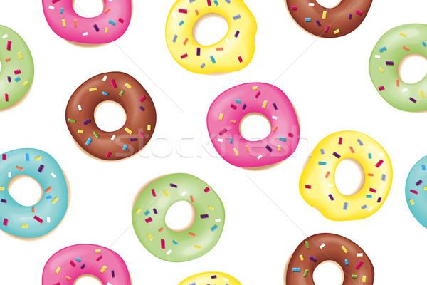Establecer dulce buñuelo patrón colorido Foto stock © FoxysGraphic