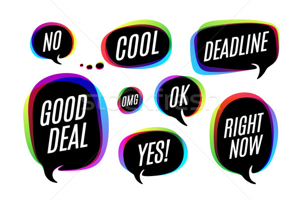 Set of colorful bubbles, icons or cloud talk with text Stock photo © FoxysGraphic