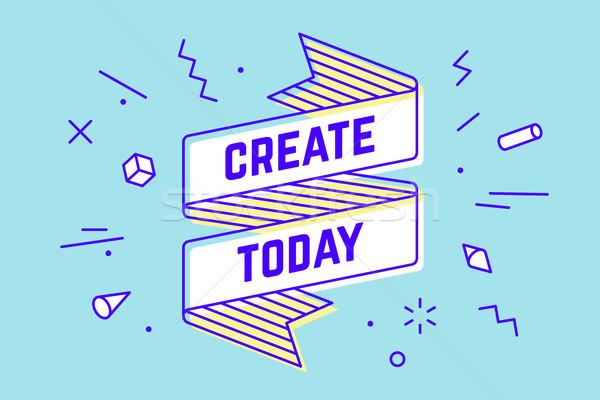 今日 ヴィンテージ リボン バナー 図面 ストックフォト © FoxysGraphic