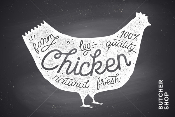 Poster with red chicken silhouette. Lettering Stock photo © FoxysGraphic