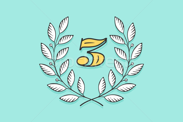 Laurel wreath icon with number Three Stock photo © FoxysGraphic