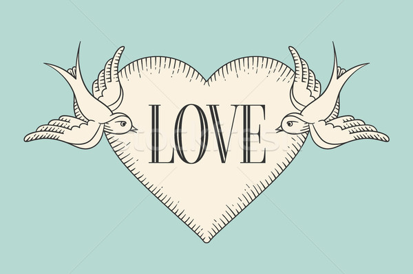 Set of old vintage ribbon banner with word Love, heart and tattoo bird in engraving style on a turqu Stock photo © FoxysGraphic