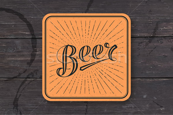 Coaster with hand drawn lettering Beer Stock photo © FoxysGraphic
