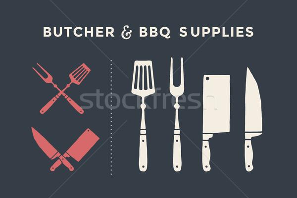 肉屋 バーベキュー 肉 ナイフ ストックフォト © FoxysGraphic