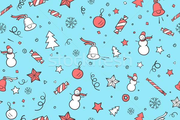 Christmas gelukkig nieuwjaar klassiek communie lichtblauw Stockfoto © FoxysGraphic