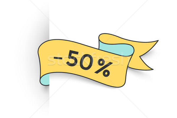 Ribbon banner with text 50 percent for discount Stock photo © FoxysGraphic