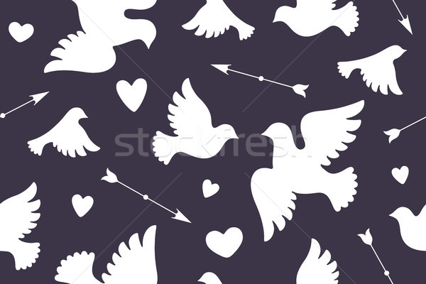 Seamless pattern with white love doves Stock photo © FoxysGraphic