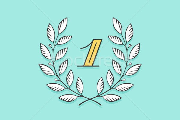 Laurel wreath icon with number One Stock photo © FoxysGraphic