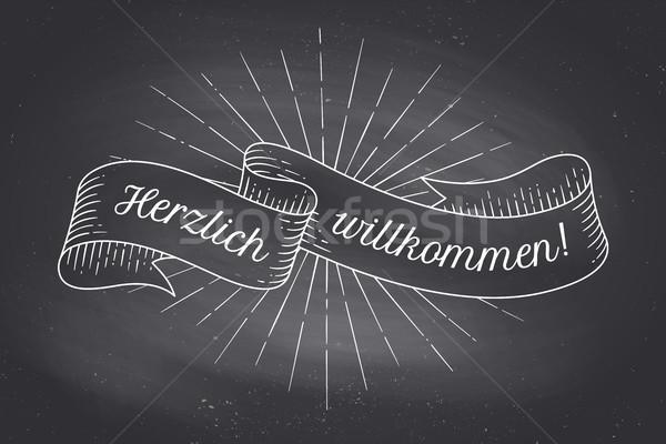 Herzlich Wllkommen, old school vintage ribbon Stock photo © FoxysGraphic