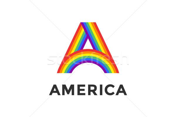 Regenboog brief tekst amerika teken embleem Stockfoto © FoxysGraphic