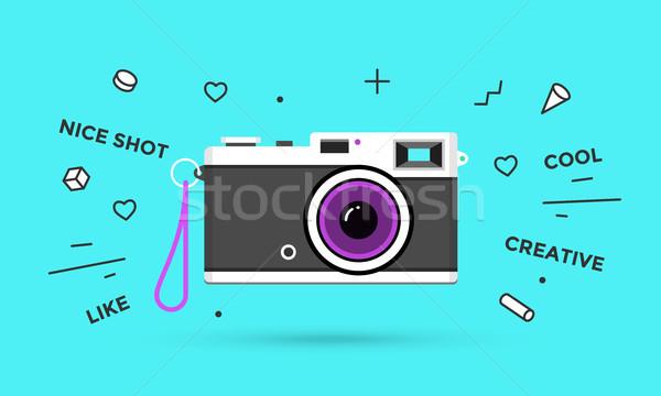 Symbol Foto Kamera Retro isoliert blau Stock foto © FoxysGraphic