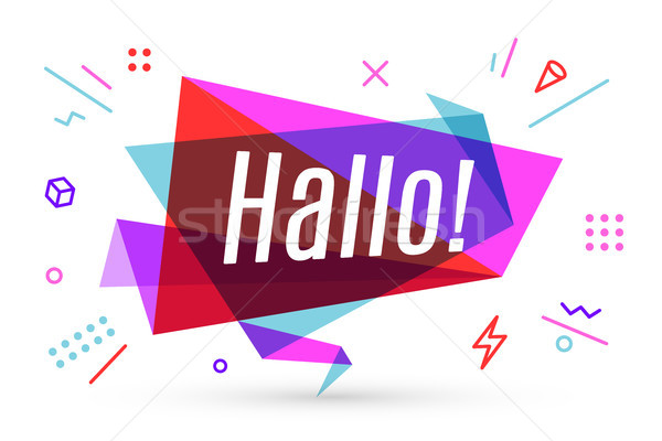 Ribbon banner with text Hallo Stock photo © FoxysGraphic