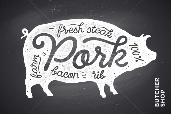 Illustration with pig silhouette Pork. Lettering Stock photo © FoxysGraphic
