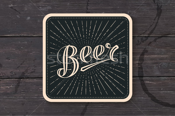 Stock photo: Coaster with hand drawn lettering Beer