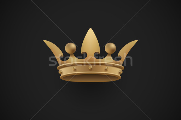 Gold royal crown on a dark black background. Vector Illustration. Stock photo © FoxysGraphic