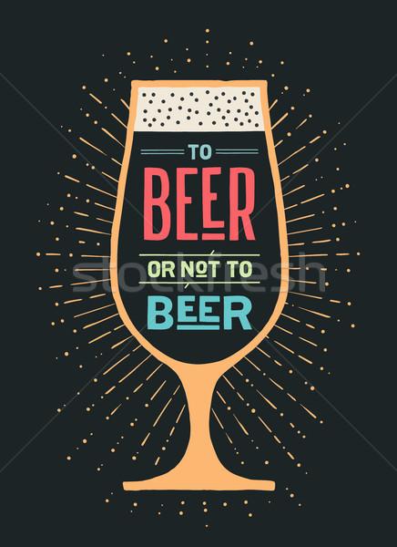 Anunciante cerveza no banner texto vintage Foto stock © FoxysGraphic