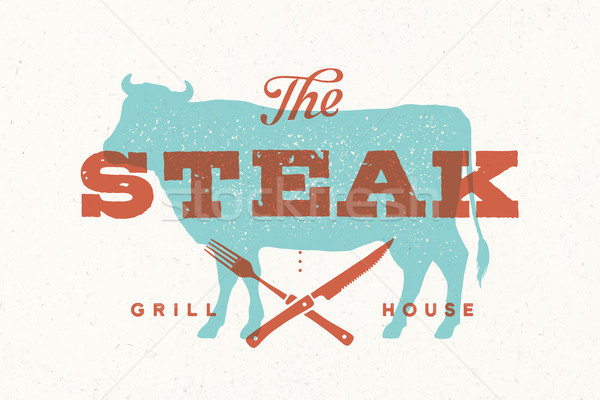 Steak, cow. Poster for grill house Stock photo © FoxysGraphic