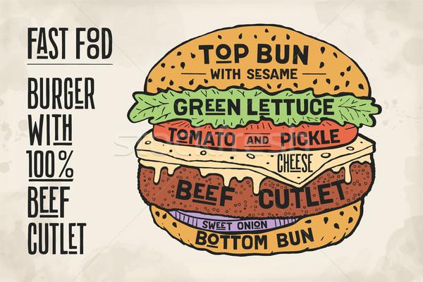 гамбургер Burger мяса говядины красочный рисунок Сток-фото © FoxysGraphic