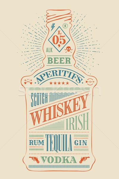 ポスター ボトル アルコール 手描き カラフル 図面 ストックフォト © FoxysGraphic